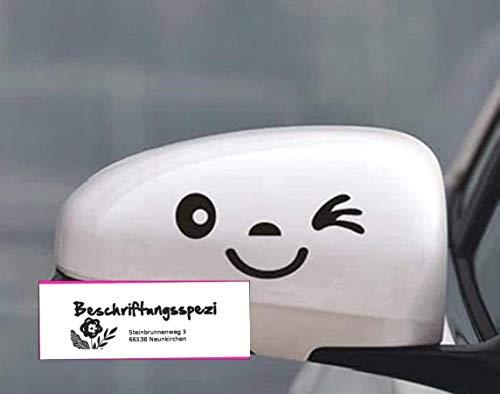 Beschriftungsspezi.com 2 Stück Lächeln Gesicht Design 3D Aufkleber Dekoration Aufkleber für Auto Seitenspiegel Autorearview Schwarz