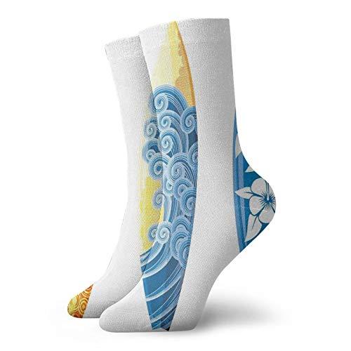Calcetines suaves de media pantorrilla, coloridos adornados tablas de surf, vocación, deportes acuáticos, estilo de vida, calcetines para hombres y mujeres