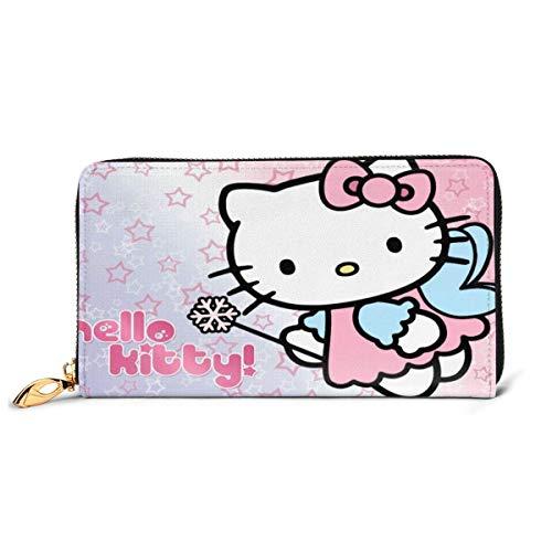 Cuero Embrague Hello Kitty Cartoon Anime Lindo Gato Rosa Billetera Cremallera Mujeres Moda Pulsera Monederos Teléfono Crédito Multi Tarjeta Titular Organizador Carteras