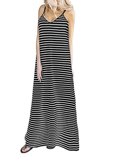 ZANZEA Vestidos Maxi para Mujer de Verano para Casual con Cuello en V Vestido de Playa Elegante Largo Sexy Maxi B91521-01 EU 42