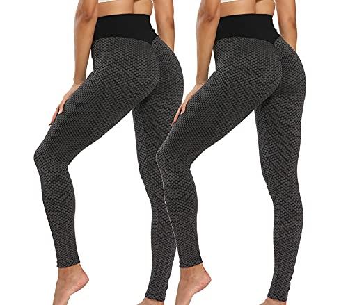 CMTOP Panal Arrugado para Mujer Leggings,los Pantalones de Yoga de con Gimnasio,Leggings Push Up Mujer Mallas Pantalones Deportivos Alta Cintura Elásticos Fitness Running (Negro + Negro, M)