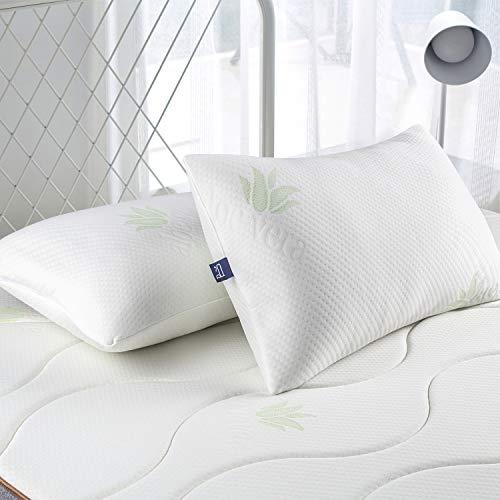BedStory Cuscini letto set di 2 con federe in Aloe Vera, 42x70cm, Coppia di Guanciali in Memory Foam Triturata, Cuscino in Fiocchi di Schiuma, Guanciale Traspirante e Antiacaro, Rivestimento lavabile