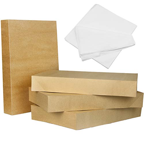 12 Kraft Brown Cardboard Gift Boxes 17' x 11' x 2.4' with Tissue Papers & Lids for Christmas Holiday Gift Decoration, Xmas Gift Wrapping, Weddings, Classrooms Party Favor Presents