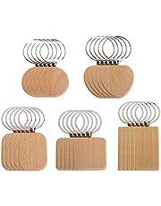 25 stuks houten sleutelhangers voor kinderen, sleutelhanger, sleutelringen, blanco hanger, cadeau, doe-het-zelf-accessoires