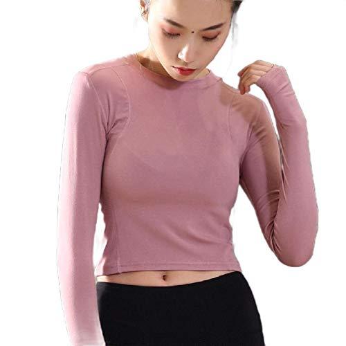 HEFASDM Mujeres sólido Crop Casual Cuello Redondo Top Ejecutar Fitness Camisas de Manga Larga Pink S