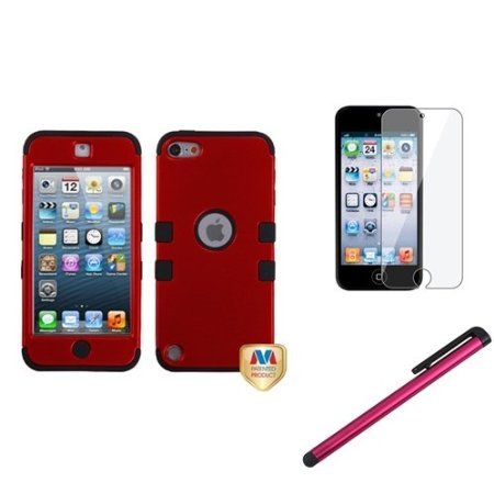 Cerhinu eForCity Red Black Rubber Hard Hybrid Case + Protector + Stylus Compatible with iPod? Touch 5 5G 5th