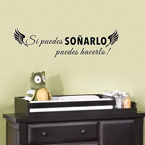 Muursticker muurkunst klassieker Spaans citaat Wenn Sie Träumen können mit Flügel Vinyl muursticker Inspirational Sticker voor wooncultuur 16 * 58 cm