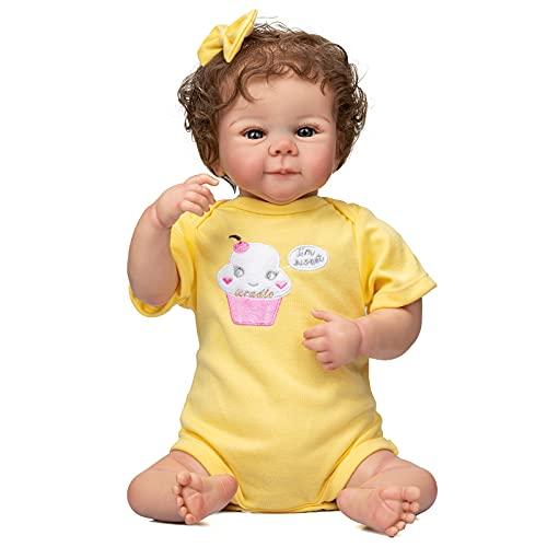 Pinky Reborn Poupée Bébé 50CM Julieta Poupée Bébé Fille Reborn Taille Nouveau-né Poupée Faite à la Main avec 3D Skin Tone Veines Visibles Collection Art Doll (Jaune)