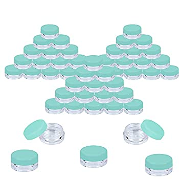 Houseables 3 Gram Jar 3 ML Jar Blue 50 Pk BPA Free Cosmetic Sample Empty Container Plastic Round Pot Screw Cap Lid Small Tiny 3g Bottle for Make Up Eye Shadow Nails Powder Paint Jewelry