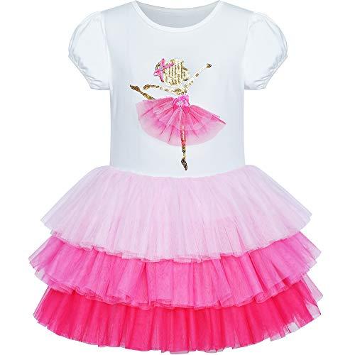 Mädchen Kleid Rosa Tutu Tanzen Tiered Rock Ballett Party Gr. 104