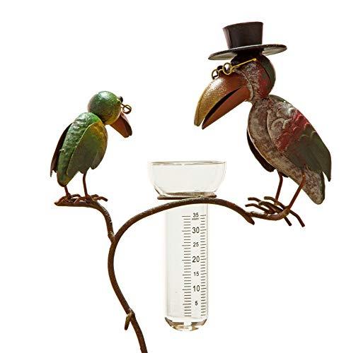 Gartenstecker Regenmesser mit Glas Rabenpaar aus Metall 136cm hoch Vögel bunt lackiert