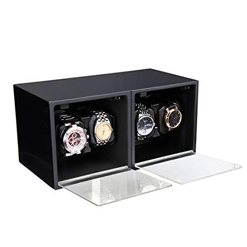 LLC- CLAYMORE Automático Reloj Winder para 4 Relojes, con Suave Almohada de Reloj Flexible-para Relojes automáticos o tamaño de Pareja, con Motor Ultra silencioso,Black