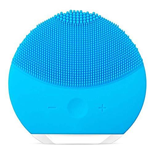 Limpiador facial de silicona, cepillo de limpieza facial, eléctrico, resistente al agua, masajeador facial de silicona, sistema de limpieza de la piel antienvejecimiento, esmalte facial, azul cristal