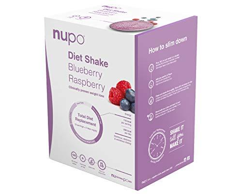 NUPO Diet Shake Blaubeer-Himbeer – Premium Diät-Shake zum Abnehmen I Kompletter Mahlzeitersatz zum Abnehmen I 12 Portionen I Very low calorie diet, glutenfrei, GMO frei