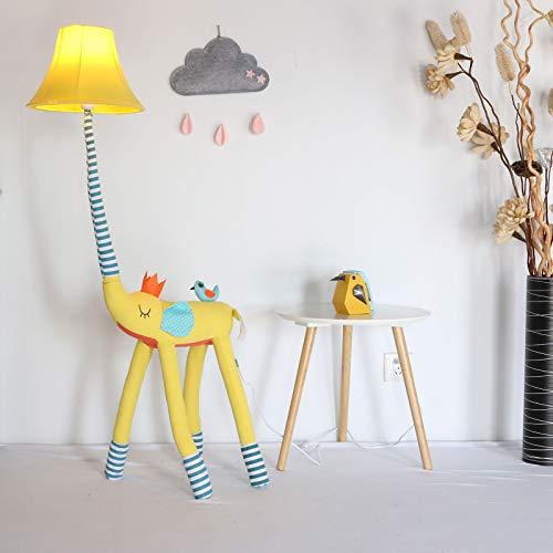 sandy Lámpara Pie LED, Lampara Salon Decorativa con Forma Animal Creativa, Lámpara Tela Independiente Moderna para la Habitación de Un Niño o Una Niña,Amarillo