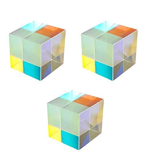 KuanDar clo 3-Teilige Optik-Prismen-Würfel - Dispersion Sechsseitiges, Mehrfarbiges Quadratisches 23mm Refraktor Kristallprisma, Für Den Unterricht In Optik, Dekoration Von Fotoeffekten