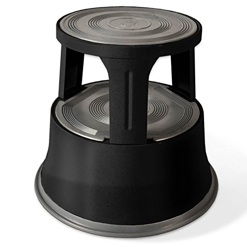 Floordirekt Rollhocker, Tritthocker, Elefantenfuß | Hocker für Buro oder Gewerbe | TÜV + GS geprüft | viele Farben | Kunststoff oder Stahl (Schwarz, Metall)