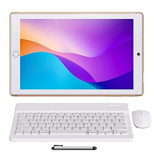 Tablet 10 Pulgadas Android 10.0 - YUMKEM Tableta 8 núcleos 4GB RAM 64GB ROM con | WiFi | Bluetooth | GPS | MicroSD 4-128 GB, Teclado Bluetooth/ratón inalambrico/Funda de Tablet - Oro