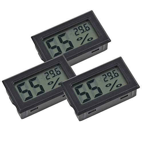 INRIGOROUS Mini Hygrometer Thermometer, 3 Pack LCD Digital Temperature Humidity Meter Thermometer Humidity Gauge Meter for cigar humidor Reptile Incubator Poultry office bedroom living room (Black)