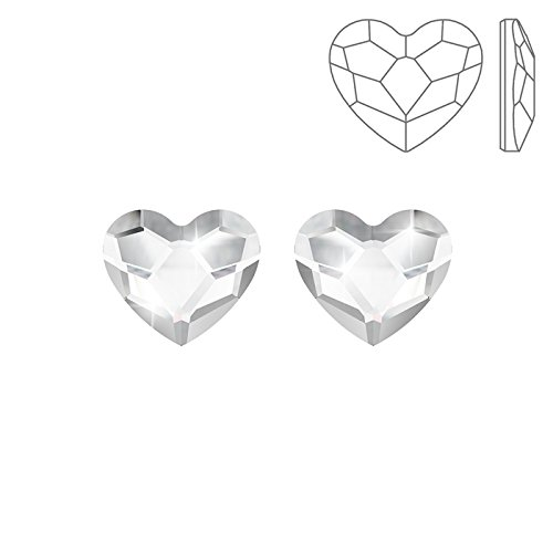 Swarovski 2808Hotfix Corazón Cristal Backs plano 10mm PK2