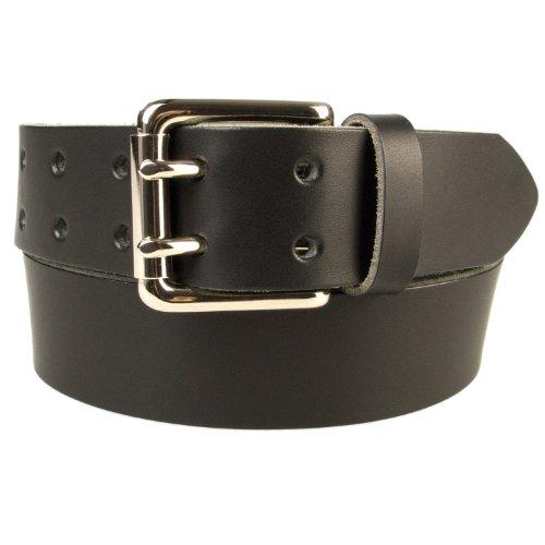 Belt Designs 107-117cm (XL) Noir - Boucle en laiton massif recouverte de nickel - Ceinture homme en cuir de qualité à doubles pointes Fabriqué au Roya