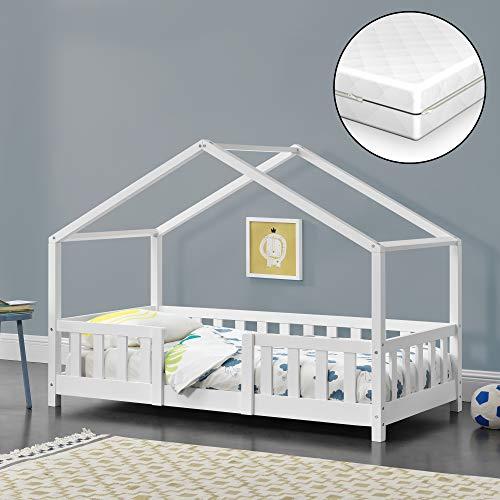Kinderbett mit Matratze und Rausfallschutz 70x140cm Hausbett mit Lattenrost und...