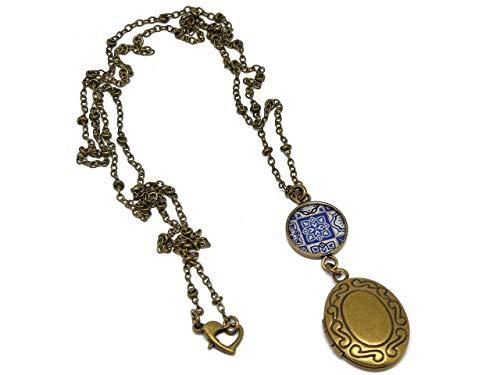 Resina collana portafoto Azulejos Lisboa blu bianco ottone bronzo fibbia cuore personalizzato regalo cuore regalo di Natale amico mamma compleanno matrimonio ospite di nozze