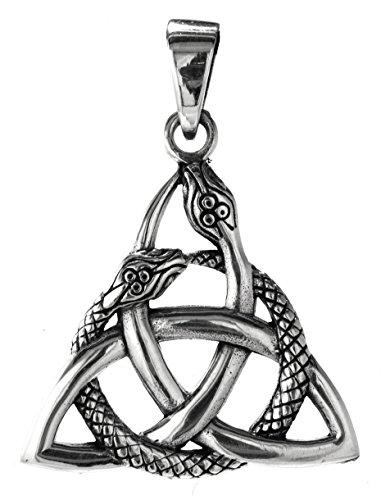 Kiss of Leather Keltenknoten mit Schlangen Anhänger aus 925 Sterling Silber Nr. 325