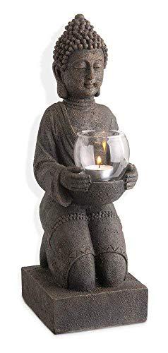 Kunstharz-Buddha Figur mit Windlicht 44 cm hoch, Feng Shui Skulptur