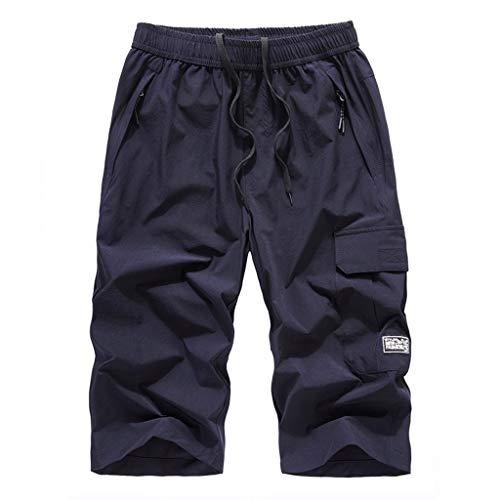 Herren 3/4 Länge Sport Shorts/Skxinn Männer Sommer Große Größe Outdoor Schnell Trocknende Shorts mit Reißverschlusstasche L-8XL Ausverkauf(Dunkelblau,8XL)