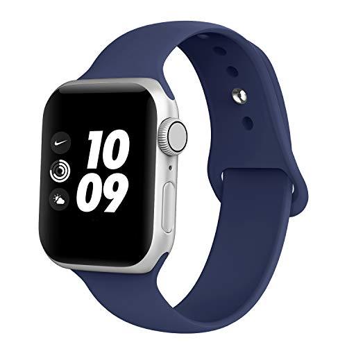 Adepoy kompatibel Apple Watch Armband, Sport Wasserdicht Silikon Ersatzarmband für iWatch 44mm 38mm 42mm 40mm Series 5/4/3/2/1 (42MM Mitternacht Blau L)