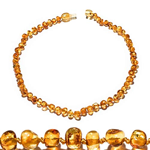 Amber Teething Necklaces (12,5 Inches) with safe Pop style clasp. Handcrafted of oval polished real amber beads. Carefully selected amber stones for those who we love most...