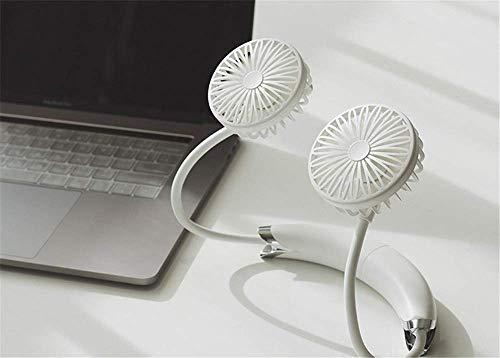 HIGHKAS Ventilador Personal portátil, Mini Ventilador de Cuello USB Manos Libres, con Doble Cabezal de Viento de 2 velocidades, 360 Grados; Rotación Gratuita Disponible, Cuello Colgante + Escritorio