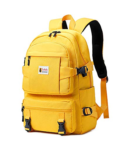 AGOWOO College Backpack Teen Lightweight School Book Bag with USB Charger Port Casual Daypack (Yellow)
