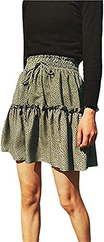 Damen Sommer Halblang Rock Chiffon Kurzer Rock Welle Punkt Rock Minikleid Strand Swing Rock Party Mini Rock Gr. 36, dunkelgrün