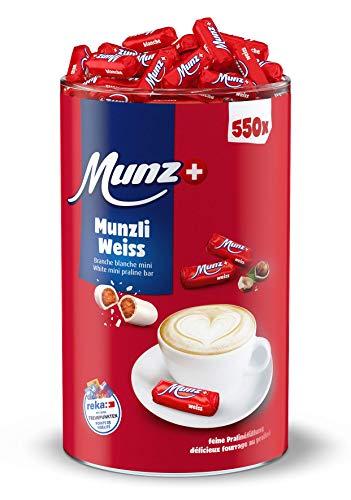 Munzli Mini-Praliné Milch | WEIßE SCHOKOLADE | von Munz | Schweizer Schokolade | Weiss | 2,5 kg Großpackung | ca. 550 Stück | Feine Pralinen | mit gerösteten Haselnuss-Splittern