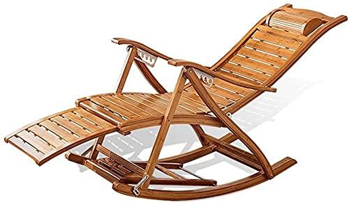 Silla mecedora cómoda con reposabrazos y reposapiés de masaje, reclinables ajustables para adultos, plegable, para el almuerzo, para verano, Siesta, sin colchoneta