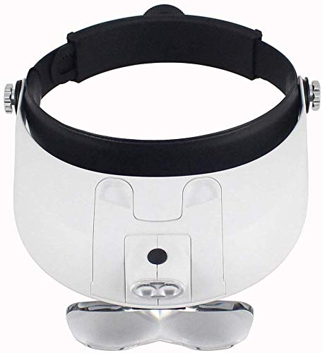 8bayfa Stirnband Montage Lupe Illuminated Kopf Glas Juweliersset Loupe Light Bracket Austauschbare 5 Austauschbare Objektive: 1.0X / 1.5X / 2.0X / 2.5X / 3.5X