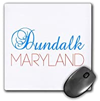 3dRose Mouse Pad Dundalk, Maryland Blue, Red Text. Patriotic Home Town Design - 8 by 8-Inches (mp_299497_1) [並行輸入品]