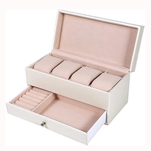 SMOOTHLY Watchbox, Caja de Almacenamiento de Reloj de Cuero 1 Pieza con 4 tragamonedas y Caja de Almacenamiento de Joyas de cajón (Blanco)