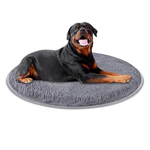 GCSEY Ronde hondenkattenkussen, koraalrode fleece hondenmand met ronde bedmat voor kleine, grote huisdieren, labrador-sofadekussen
