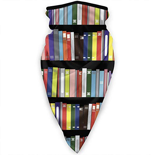 ECNM56B Library Genius Books Pattern Face Cover Polainas para el cuello Bandana Scarf Balaclava Headwear multifuncional para deportes al aire libre Negro