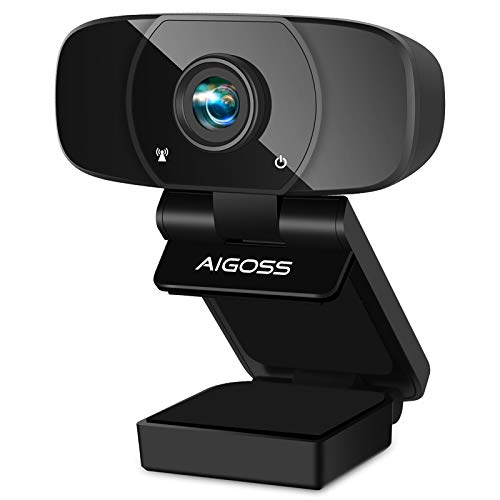 Aigoss Webcam Full HD 1080P con Micrófono Estéreo Cámara Web USB 2.0 Soporte Giratorio para Skype Google Hangouts FaceTime, para Gaming, Portátil PC Mac Android