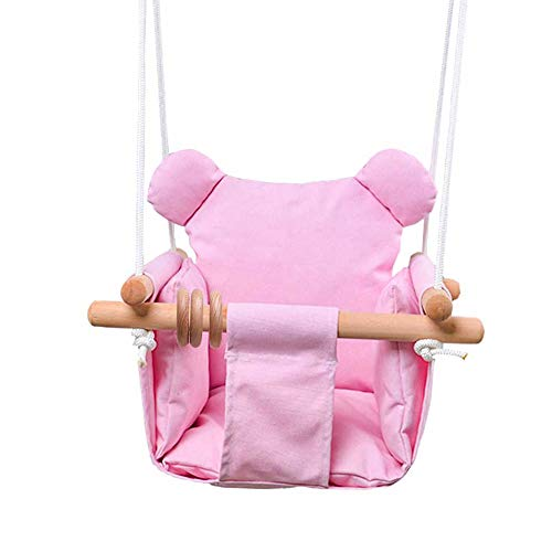 DILIMI Baby Canvas Swing Chair Hanging Toddler Secure Hammock Indoor & Outdoor Swing Pink
