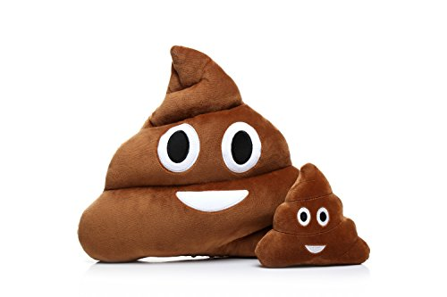 Ignislife Pair of Cute Emoji Faces Pillows Plush Toys Throw Pillows (Poop#2)
