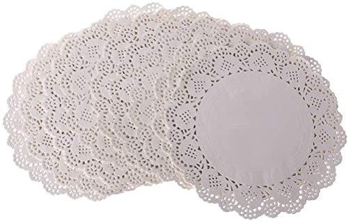 Rund Papierdeckchen,100 Stücke Tortenspitze Papier Runde Spitze Papiermatten Tischsets,Kuchen Verpackung Pads für Hochzeiten,Geburtstagsfeier,Geschirrdekoration 14 cm (5.5 Zoll)