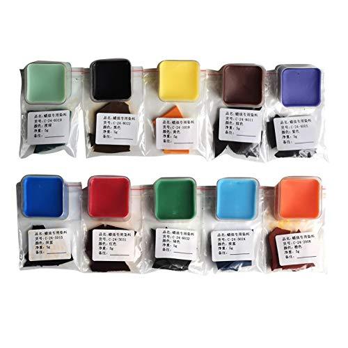 Buding Copos de cera de soja para teñir velas, colores de cera para velas, cera de velas y aceites aromáticos, 10/24 colores x 5 g