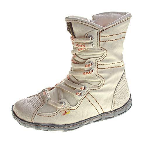 TMA Leder Stiefeletten Damen Weiß Köchel Schuhe echt Leder Winter Stiefel gefüttert Gr. 37