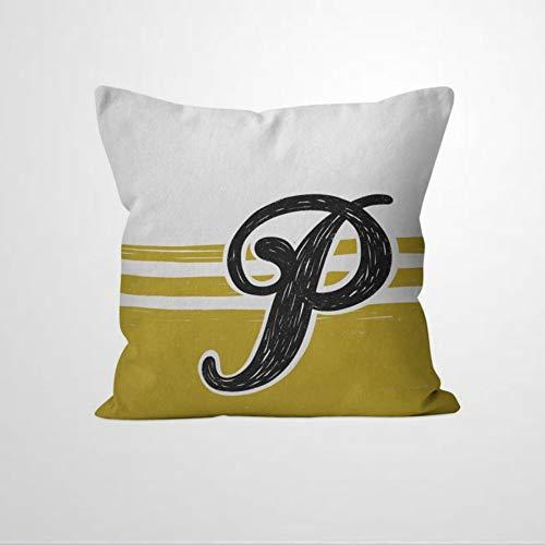 EricauBird Funda de cojín con diseño de monograma amarillo mostaza