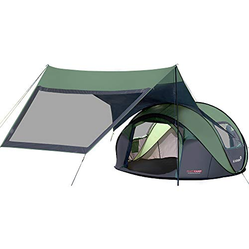 FASTCAMP OperaSuite 4-Person pop up Tent for Picnic&Camping Tent,2 Windows,Privacy Wall, (Green + Wide Attachable Extensions)